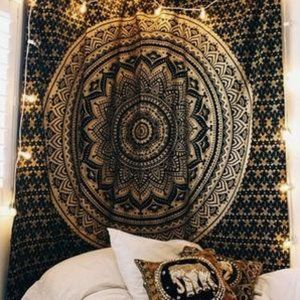 Blue & Gold Shimmer Twin Size Wall Boho Tapestry